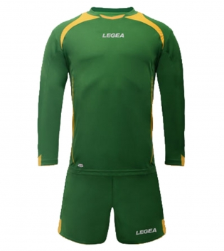 Kit Uomo Sport Calcio LEGEA Firenze Uomo Bambino Completino Sportivo Calcetto GIOSAL-Verde-Giallo-S