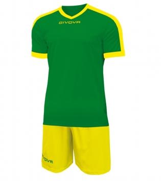 Kit Revolution Calcio Sport GIVOVA Abbigliamento Sportivo Uomo Calcistico GIOSAL-Verde-Giallo-4XS