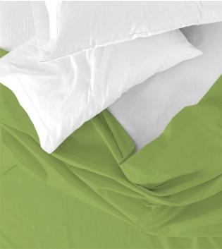 Lenzuolo Sopra Maestri Cotonieri Singolo 160x290cm Cotone Tinta Unita Vari Colori GIOSAL-Verde Mela