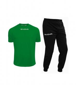 Outfit Givova Uomo Donna Bambino Completo Tuta T-Shirt Pantalone Givova One Verde Nero Unisex GIOSAL