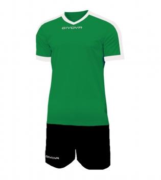 Kit Revolution Calcio Sport GIVOVA Abbigliamento Sportivo Uomo Calcistico GIOSAL-Verde-Nero-4XS