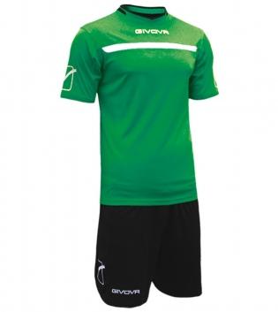 Kit One Calcio GIVOVA Uomo Sport Uomo Bambino Abbigliamento Sportivo Calcistico GIOSAL-Verde/Nero-4XS