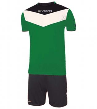 Kit Calcio GIVOVA Campo Completino Football Sport Sportivo Uomo Bambino GIOSAL-Verde/Nero-3XS