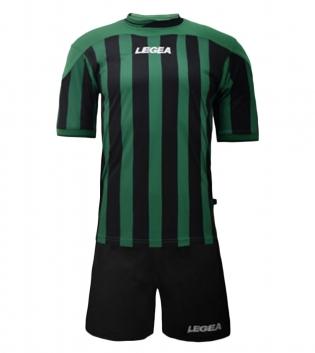 Kit Uomo LEGEA Calcio Salonicco Righe Uomo Bambino Calcetto GIOSAL-Verde-Nero-2XS