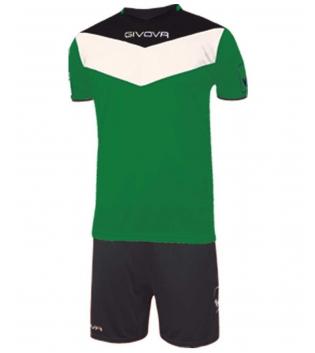 Kit Calcio GIVOVA Campo Completino Football Sport Sportivo Uomo Bambino GIOSAL-Verde/Nero-4XS