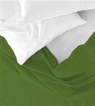 Lenzuolo Sopra Maestri Cotonieri Singolo 160x290cm Cotone Tinta Unita Vari Colori GIOSAL-Verde Scuro
