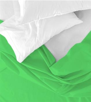 Lenzuolo Sopra Maestri Cotonieri Singolo 160x290cm Cotone Tinta Unita Vari Colori GIOSAL-Verde