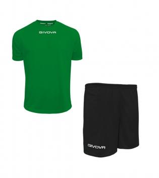Outfit Givova Completo Pantaloncini T-Shirt Givova One Verde Nero Unisex Uomo Donna Bambino GIOSAL-Verde-Nero-4XS