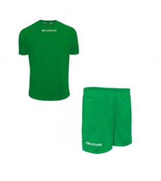Outfit Givova Completo Pantaloncini T-Shirt Givova One Unisex Verde Uomo Donna Bambino GIOSAL-Verde-4XS