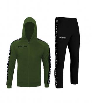 Outfit Givova Completo Tuta Sportivo Felpa Full Zip Pantalone College Band Verde Uomo Donna Bambino Unisex GIOSAL-Verde-S