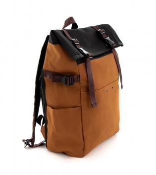 Zaino Unisex Sacco Multi Tasche Camel Scamosciato Casual da Viaggio GIOSAL