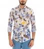 Camicia Uomo Cotone Collo Coreano Fantasia Floreale Fiori Stampata Multicolore GIOSAL
