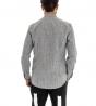 Camicia Collo Coreano Maniche Lunghe Grigia Rigata Righe Regular Slim Casual GIOSAL