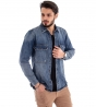 Giubbotto Uomo Giacca Jeans Denim Chiusura Bottoni Effetto Destroyed Slim GIOSAL