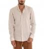 Completo Uomo Casual Outfit Camicia Pantalone Lino Tinta Unita Beige Camel Paul Barrell GIOSAL