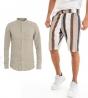 Outfit Uomo Completo Lino Camicia Tinta Unita Bermuda Rigato Beige GIOSAL
