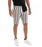 Outfit Uomo Completo Lino Tinta Unita Camicia Nera Bermuda Rigato GIOSAL