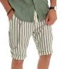 Outfit Uomo Completo Lino Tinta Unita Camicia Verde Bermuda Rigato Elastico Coulisse GIOSAL