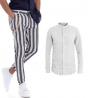 Outfit Uomo Completo Lino Camicia Collo Coreano Bianca Pantalone Rigato Blu GIOSAL