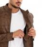 Outfit Uomo Completo Giacca Pelle Tinta Unita Marrone Pantalone Lungo Rotture GIOSAL