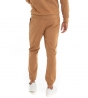 Outfit Uomo Completo Tuta Felpa Scamosciato Pantalone Tinta Unita Camel GIOSAL