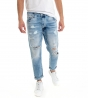 Jeans con Rotture Pantalone Denim Uomo Cinque Tasche Rotture Stone Washed Strappato GIOSAL