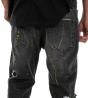 Jeans Uomo Rotture Pantalone Cavallo Basso Macchie Pittura Cinque Tasche Scritte Stampe GIOSAL