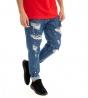 Jeans Uomo Pantalone Rotture Cinque Tasche Scritte Macchie Pittura GIOSAL