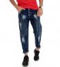 Jeans Uomo Pantalone Lungo Denim Scuro Macchie Pittura Cinque Tasche GIOSAL