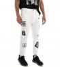Jeans Uomo Pantalone Bianco Scritte Stampe Cinque Tasche Tinta Unita GIOSAL