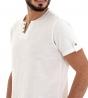 T-Shirt Maglia Maniche Corte Uomo Bianca Scollo con Bottoni Tinta Unita Cotone GIOSAL