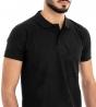 Polo Uomo Maglia Maniche Corte T-Shirt Mezza Manica Con Colletto Nera Tinta Unita GIOSAL