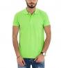 Polo Uomo Maglia Maniche Corte T-Shirt Tinta Unita Verde Acido Mezza Manica Con Colletto GIOSAL