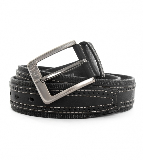 Cintura Uomo Tessuto Ecopelle Nero con Fibbia in Metallo Cinta Regolabile GIOSAL