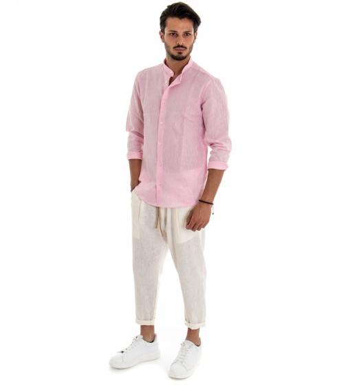 Completo Uomo Casual Outfit Camicia Pantalone Lino Tinta Unita Rosa Bianco Paul Barrell GIOSAL