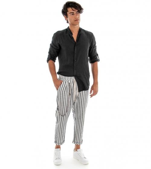 Completo Uomo Casual Outfit Camicia Pantalone Lino Tinta Unita Nero GIOSAL