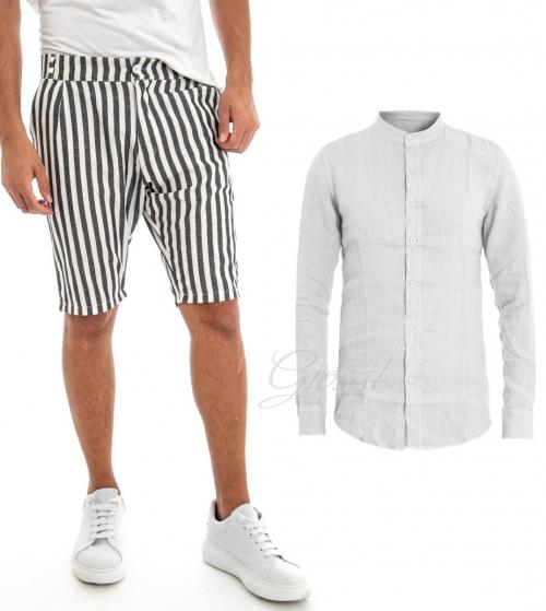 Outfit Uomo Completo Lino Camicia Tinta Unita Bermuda Rigato Bianco Nero GIOSAL