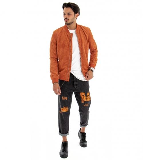 Outfit Uomo Completo Giacca Jeans Tinta Unita Arancione Pantalone Lungo Stampa GIOSAL