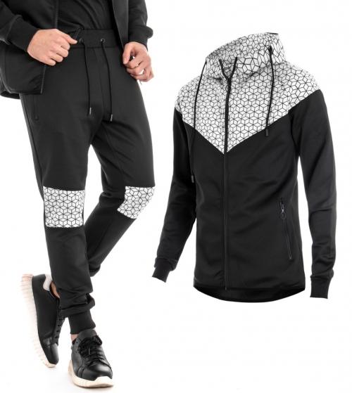 Outfit Uomo Completo Tuta Felpa Pantalone Cappuccio Zip Tinta Unita Nero GIOSAL