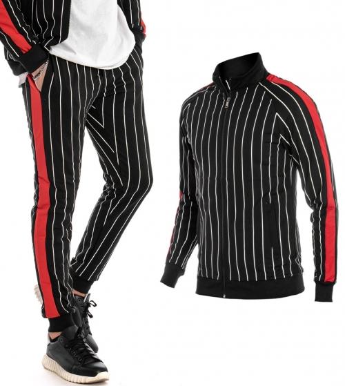 Outifit Uomo Completo Tuta Rigato Nero Rosso Felpa Pantalone Zip GIOSAL