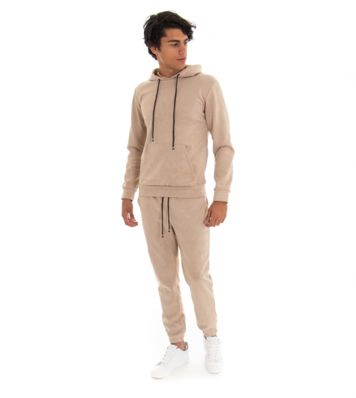 Outfit Uomo Completo Tuta Felpa Scamosciato Pantalone Tinta Unita Beige GIOSAL