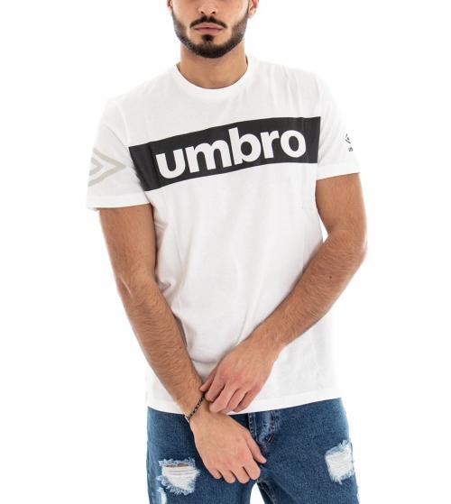 T-Shirt Maglia Uomo UMBRO RAP00002B Bianca Stampa Manica Corta GIOSAL