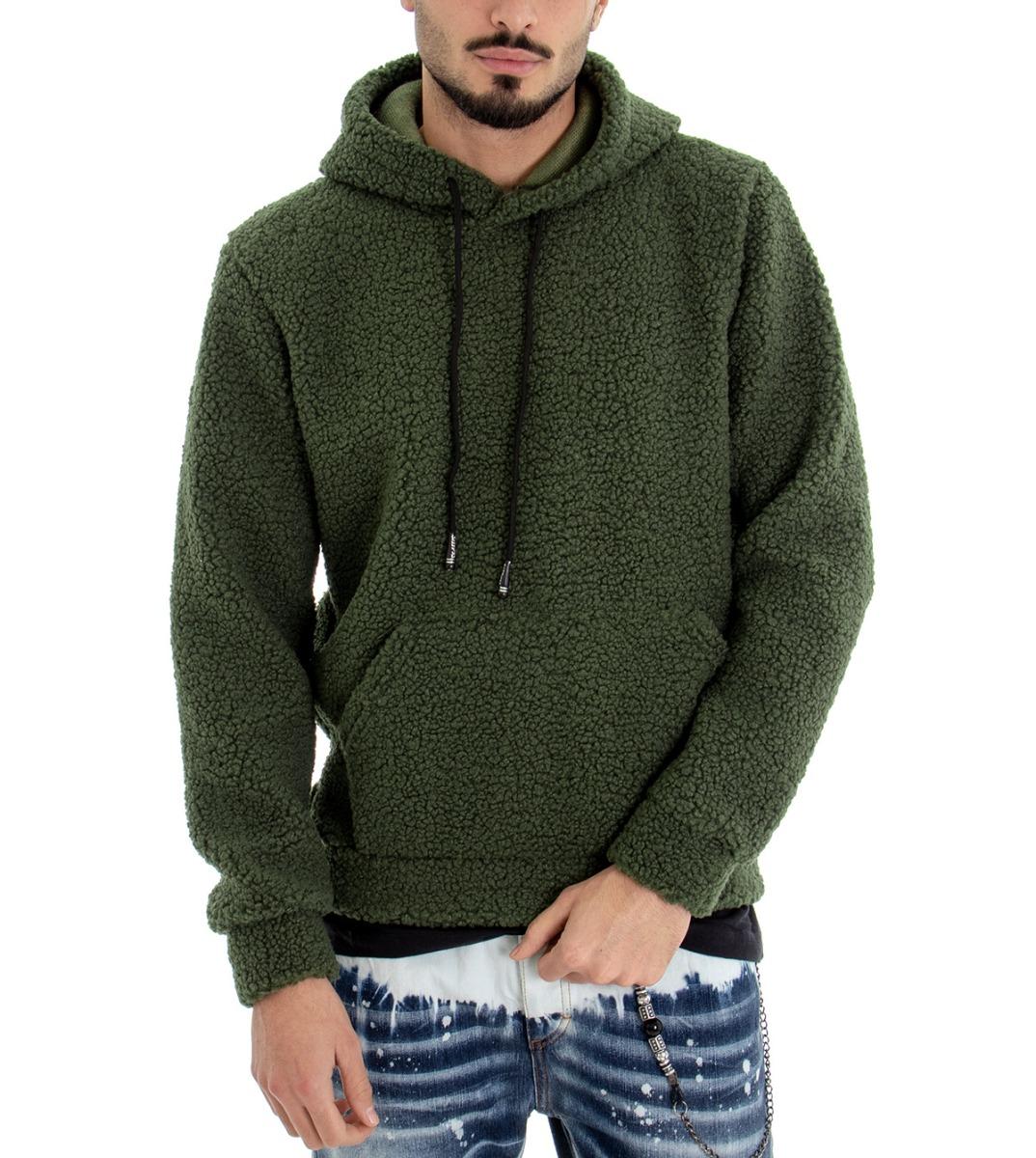 Sweat Hommes Teddy Fourrure Synthetique Vert
