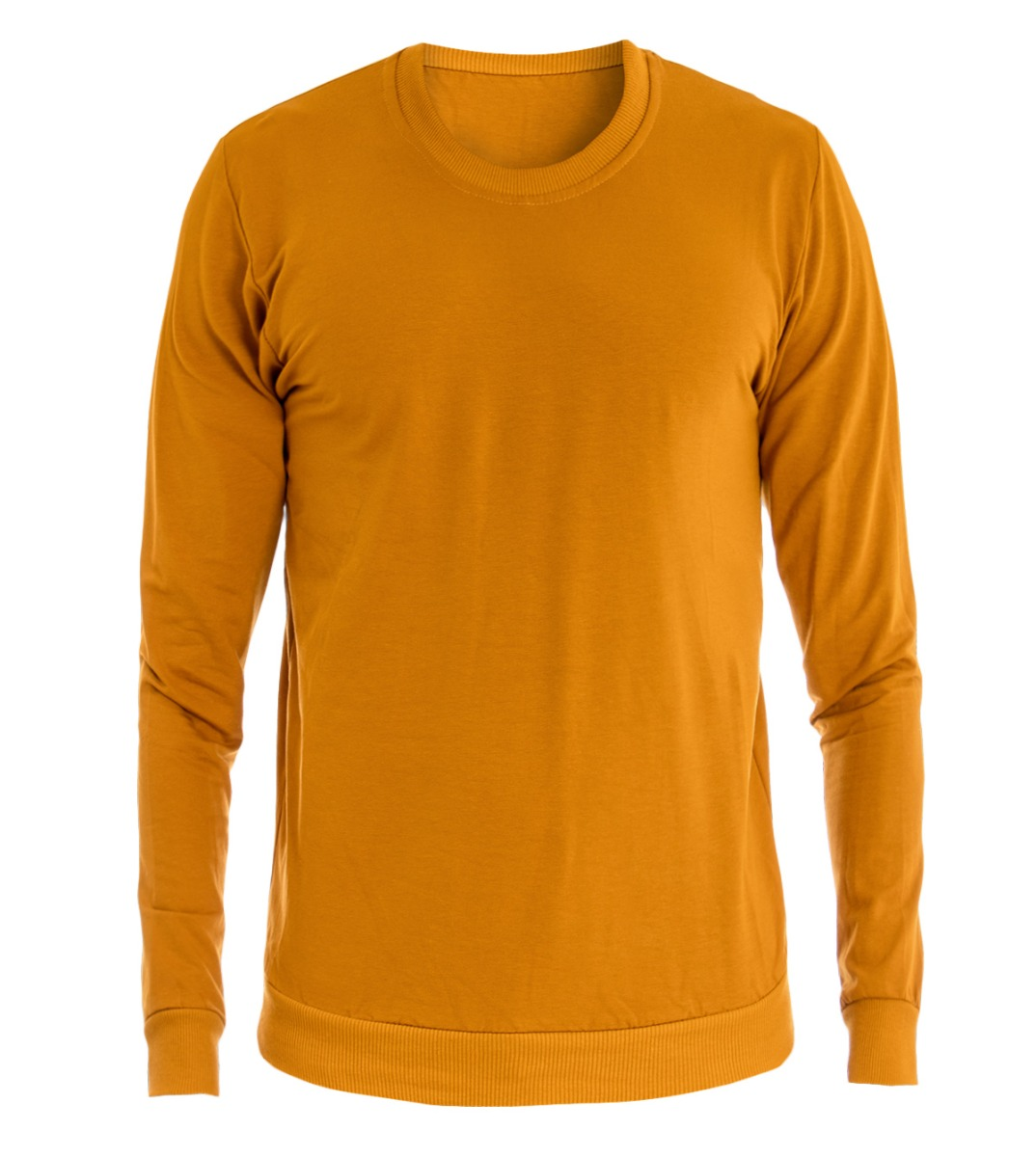 e4734d50f Details about Men's Sweatshirt Crew-neck T-shirt Cotton Light Solid Colour  Mustard Various