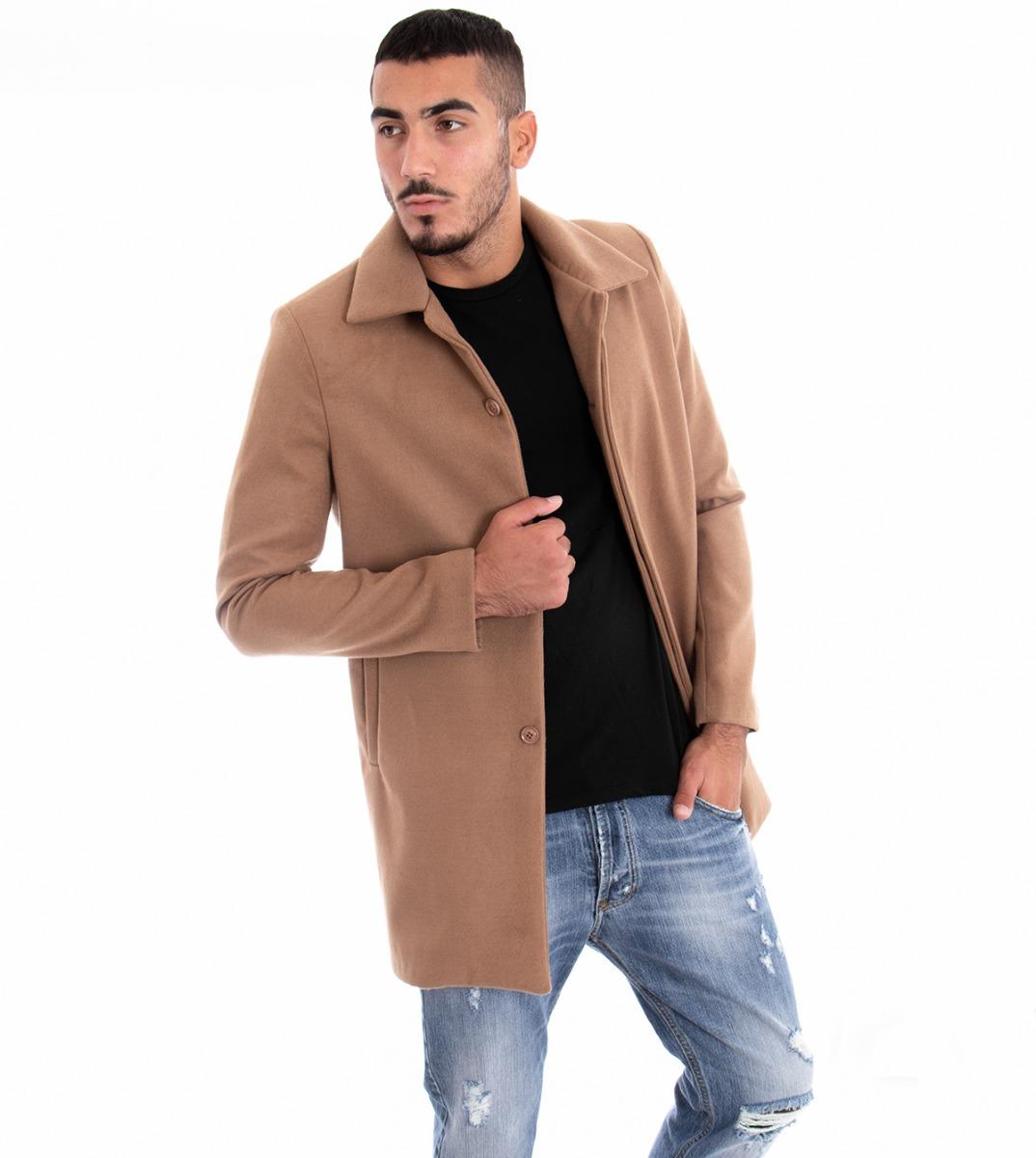 SéRieux Giacca Uomo Elegante Lunga Giubbotto Colletto Tinta Unita Camel Slim Giosal Clair Et Distinctif