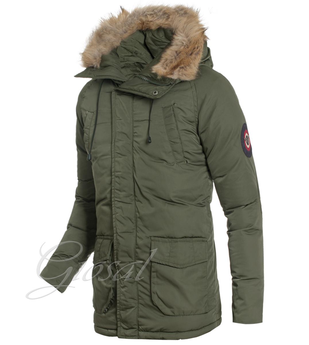 new product 324bc 023d1 Details zu Jacke Herren Grün Jacke Parka Taschen Gepolstert Abzugshaube  Pelz Winter Giosal