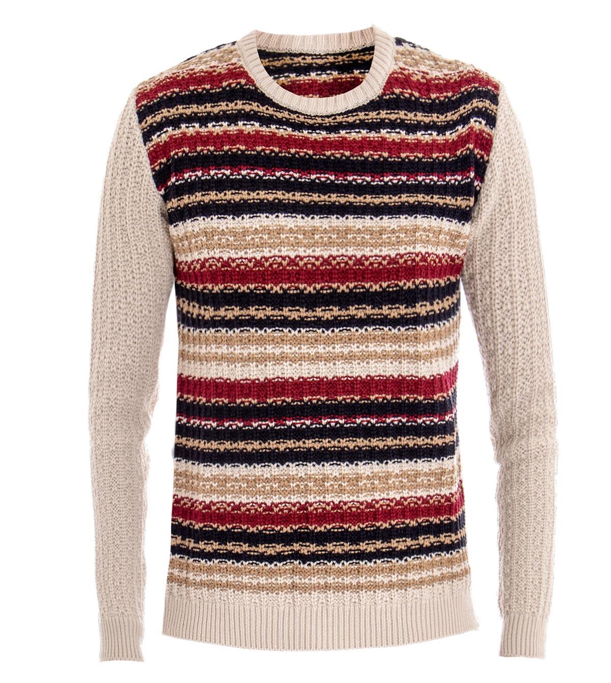 Maglione-Uomo-Girocollo-Pullover-Rigato-Multicolore-Beige-Slim-Casual-GIOSAL