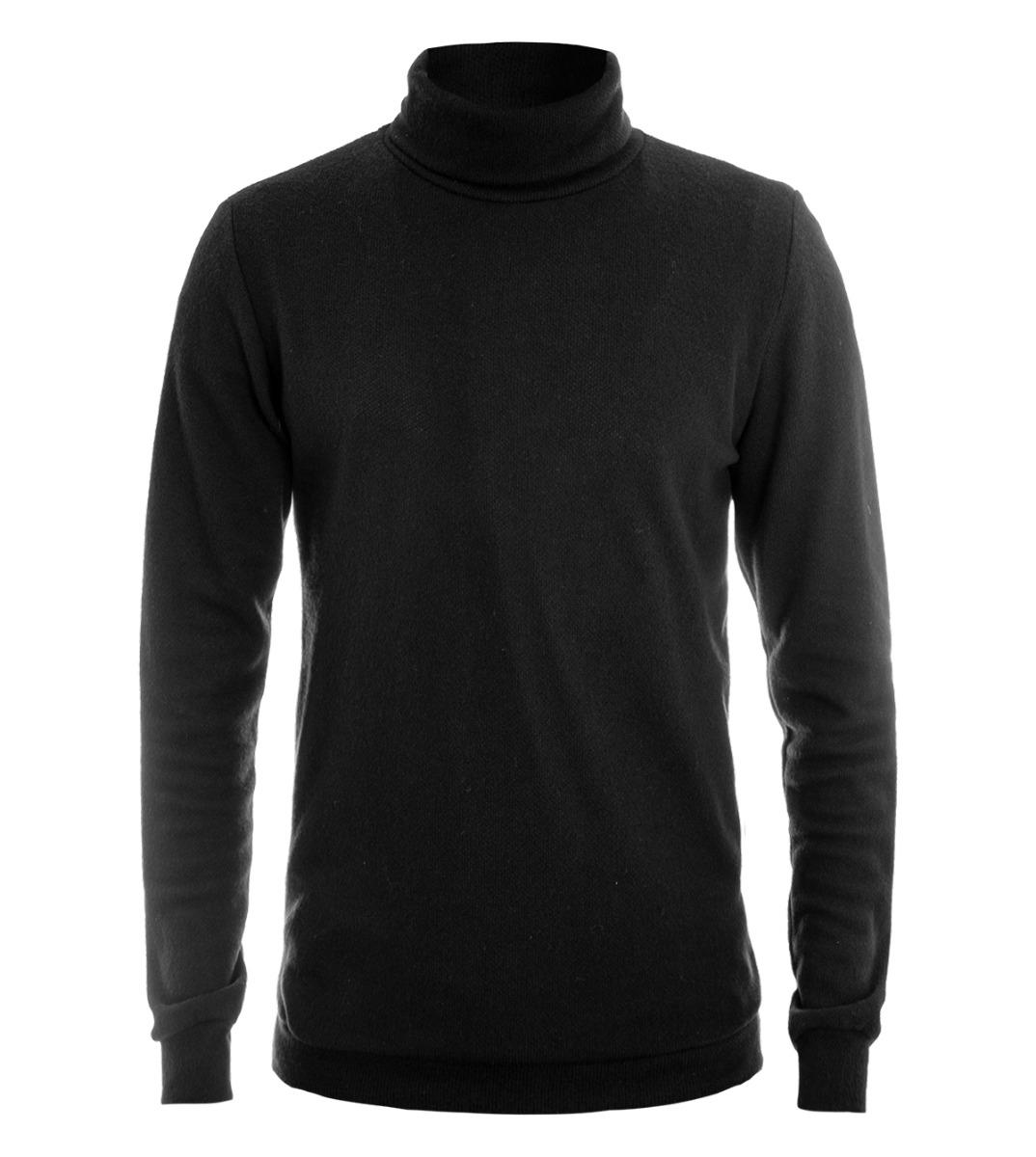 Maglione Uomo Pullover Collo Alto Maglia Nero Tinta Unita Slim Casual Giosal