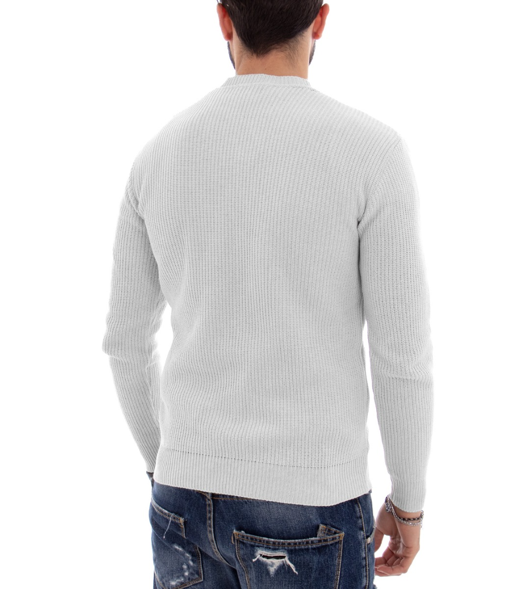 foto ufficiali 0a7a2 60bb5 MAGLIONCINO UOMO MAGLIONE Maglia Girocollo Tinta Unita Bianco Slim GIOSAL