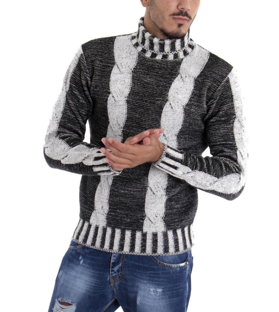 Giosal Maglione Uomo Dolcevita Pullover Collo Alto Tinta